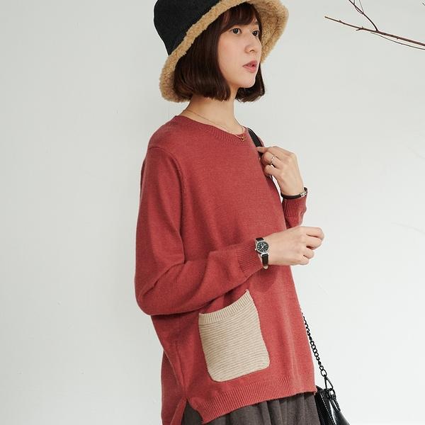 【慢。生活】輕文藝口袋拼接柔軟針織衫 0210 FREE紅色