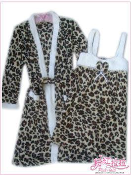 *╮粉紅拉拉【PAE515】粉嫩小花豹‧暖呼呼珊瑚絨→兩件式‧豹紋背心裙睡衣+睡袍/浴袍