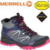 【MERRELL 美國 女款 CAPRA BOLT MID GORE-TEX 灰/紫 中筒登山鞋】ML35944/登山鞋/休閒鞋/登山鞋★滿額送