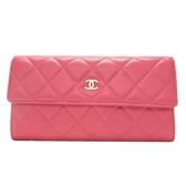 CHANEL 香奈兒 粉紅羊皮Logo金釦二折長夾 Classic Long Flap Wallet【BRAND OFF】
