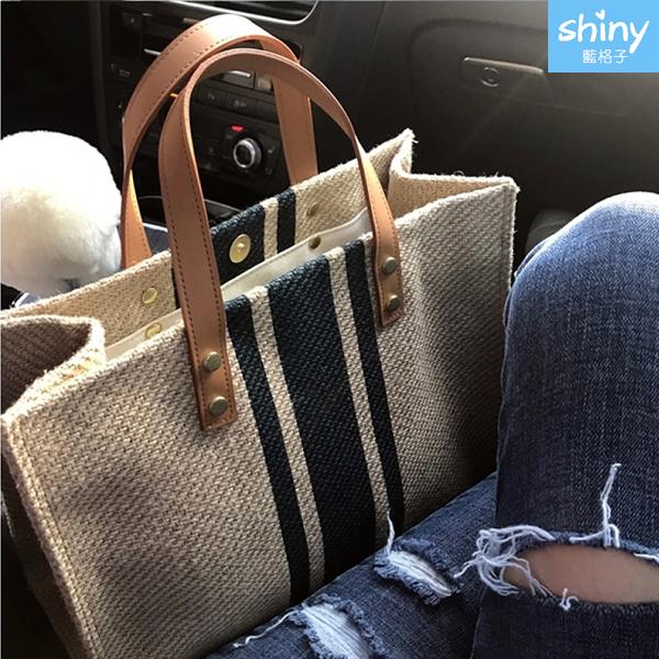 【P668】shiny藍格子-時尚打造‧簡約創意條紋帆布手提袋包