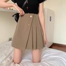 大碼半身裙女夏黑色短裙a字裙胖mm高腰顯瘦不規則洋氣減齡百褶裙 茱莉亞