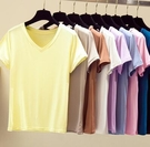 輕薄高彈短袖T恤女 V領常規款夏季必備V領莫代爾上衣 韓版修身顯瘦打底衫夏季9633ZLE02快時尚