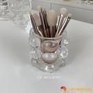 韓版筆筒圓球玻璃筆筒裝飾化妝刷桶桌面收納【小獅子】