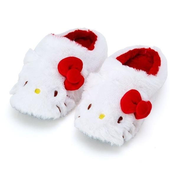 〔小禮堂〕Hello Kitty 全包式造型絨毛室內拖鞋《紅白.大臉》絨毛拖.保暖拖.2019冬日系列 4901610-04540