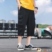 工裝七分褲男士夏季薄款褲子男休閒八分褲機能風潮流韓版時尚百搭 KP2458