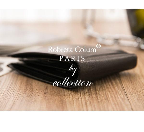 Roberta Colum - 魅力無限牛皮款8卡1照左右翻短夾-深咖