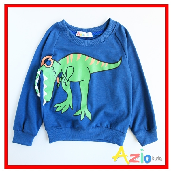 Azio 男童 上衣 搖滾恐龍印花長袖上衣T恤(藍) Azio Kids 美國派 童裝