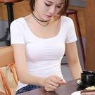 低胸上衣 純棉短袖t恤女白色短款修身純色打底衫緊身低胸性感露背低領上衣