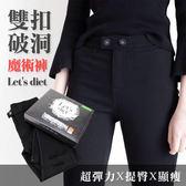 【KP】韓國 Let s diet 雙扣破洞魔術褲 (黑盒) showmee N202387