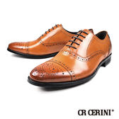【CR CERINI】時尚雕花橫飾真皮德比紳士鞋  咖啡(82353-BR)