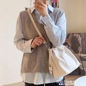 春夏新款韓國軟pu女包百搭抽繩側背水桶包休閒斜背包學生大容量包 艾瑞斯