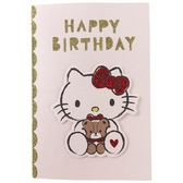 小禮堂 Hello Kitty 造型直式生日卡片 祝賀卡 送禮卡 節慶卡 (紅白 小熊) 4711717-23436
