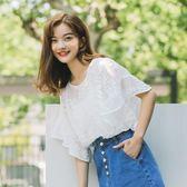 雪紡衫女2018夏季新款韓版荷葉袖圓領蕾絲衫