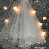 頭紗2019新款結婚紗照拍照新娘頭紗韓式珍珠簡約唯美婚紗頭紗短款白色 萊俐亞