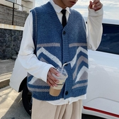 特惠針織馬甲新款秋季韓版潮流毛衣馬甲男士針織衫開衫外套寬鬆毛線衣背心交換禮物