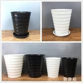大花落地盆簡約塑料仿陶瓷高筒圓柱型黑白螺紋特大號橫紋塑料花盆 ZJ1430 【雅居屋】