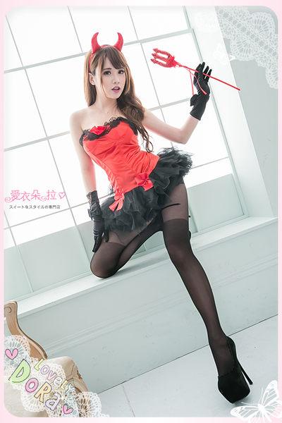小惡魔 紅色洋裝 角色扮演萬聖節服飾 附贈惡魔角/叉子- 愛衣朵拉