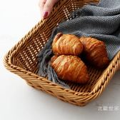 面包籃蔬菜筐超市陳列展示筐PP膠藤籃仿藤編收納筐長方形筐咖啡色