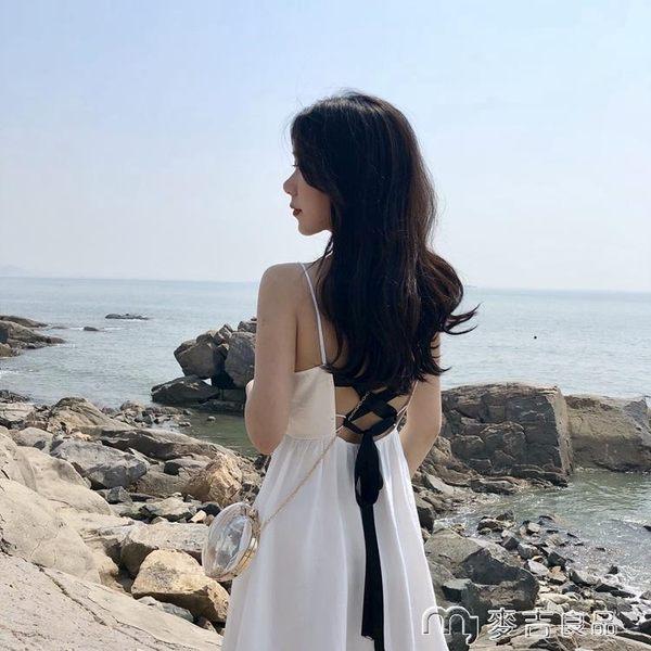 港味復古chic夏季中長款禮服裙小黑裙V領高腰綁帶露背吊帶連身裙     麥吉良品