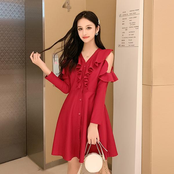 VK旗艦店 韓國風V領荷葉邊修身長袖洋裝