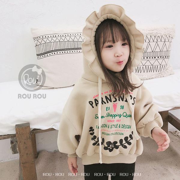 韓版女童長袖T恤。ROUROU童裝。冬季女童中小童印花刷毛花邊連帽長袖T恤 0341-319