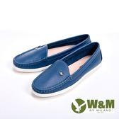 【W&M】袖扣豆豆鞋莫卡辛鞋女鞋-深藍(另有白)