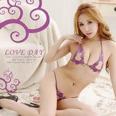 【緁希情趣 】誘惑美姬.唯美縷空刺繡比基尼紫色