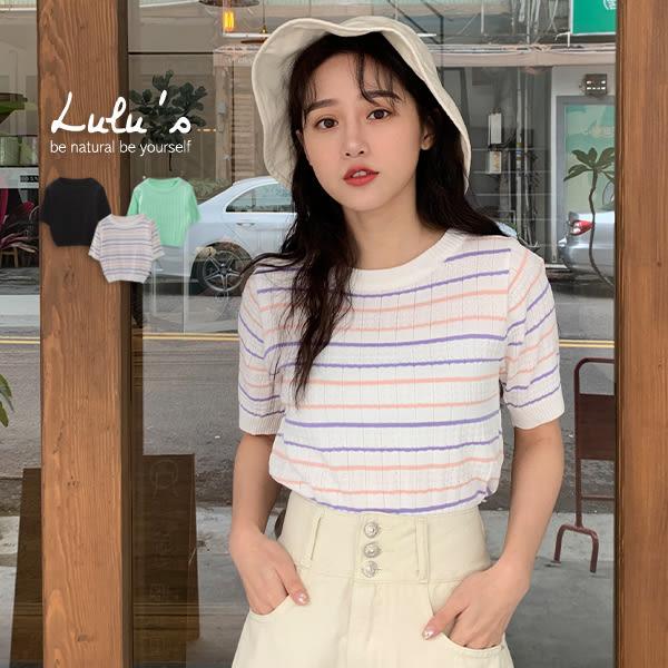 LULUS-Y直坑條紋路針織上衣-3色  【01190341】