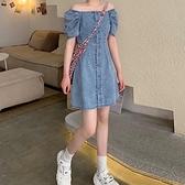 裙子2020年夏季新款一字肩法式小眾復古連身裙女收腰牛仔裙A字裙