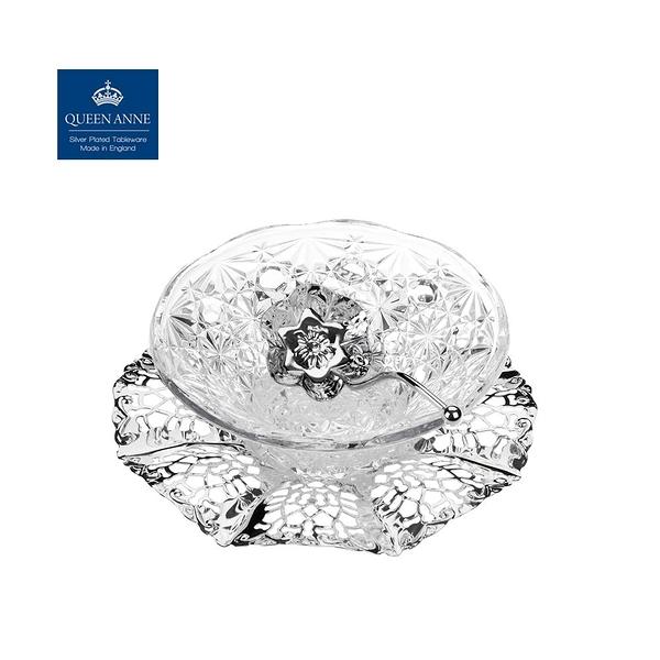 英國QUEEN ANNE-銀器系列-鏤空糖果盤(含匙)-附原廠彩盒