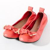 GREEN PINE 氣質甜美蝴蝶結娃娃鞋-粉橘色