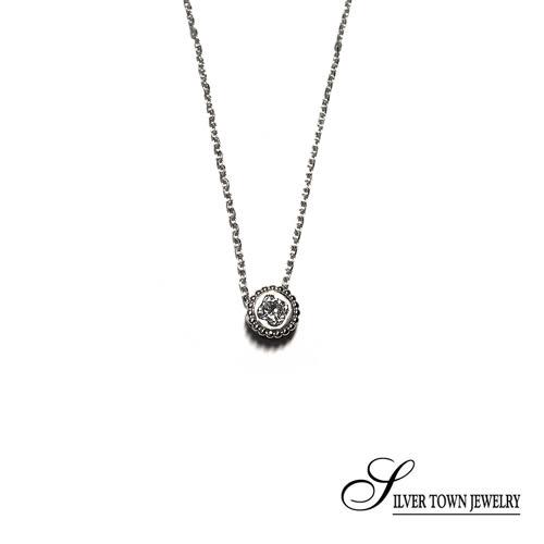 SilverTown銀鎮 圈形方晶純銀項鍊
