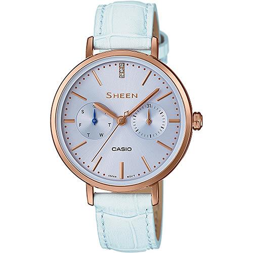 【台南 時代鐘錶 CASIO】SHEEN 宏崑公司貨 SHE-3054PGL-2A 甜美粉嫩簡約風格時尚腕錶