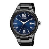 CITIZEN 星辰 光動能簡約金屬腕錶 AW1375-58L 藍面x黑鐵