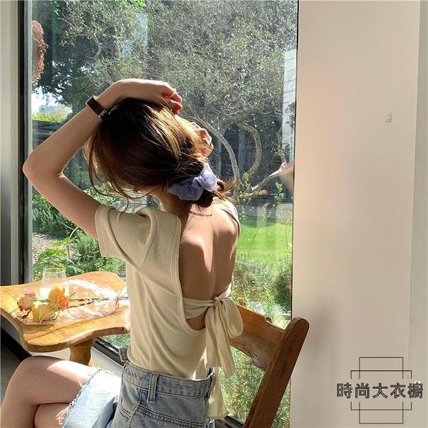 夏季后背綁帶短袖T恤女修身性感露背上衣圓領【時尚大衣櫥】