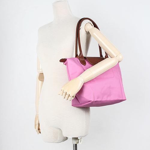 LONGCHAMP 長提把小型尼龍摺疊水餃包(粉紅色-含帕巾)480111-058