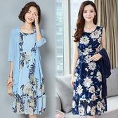 【韓國KW】(預購) 2XL~4XL 花舞曼影蠶絲質感二件套洋裝外套