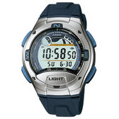 CASIO卡西歐 W-753-2A 電子錶 潮汐 鬧鈴 碼錶 倒數計時 兩地時間 藍黑 橡膠 40mm 男錶 W-753-2AVDF