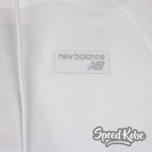 NEW BALANCE 白 灰邊 短版帽T 女 WT91587WT -SPEEDKOBE-