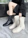 中筒靴 機車馬丁靴女新款英倫風瘦瘦靴平底方頭系帶后拉鏈中筒靴  polygirl