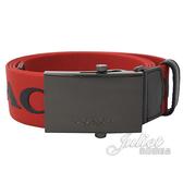 茱麗葉精品【全新現貨】COACH 84746 品牌LOGO印花壓紋織布造型皮帶.紅