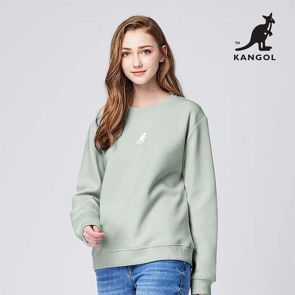 KANGOL 袋鼠 - 中間刺繡袋鼠小LOGO大學T 蘇打綠【60551046】