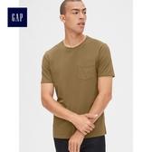 Gap男裝 復古水洗短袖圓領口袋T恤 440773-帕洛米諾色