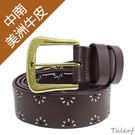 TALERF手工縫花線牛仔帶(深咖色/共2色)-女 /真皮 牛皮/台灣製造