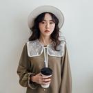 現貨-MIUSTAR 網紗亮片刺繡大領子排釦厚雪紡上衣(共2色)【NJ0029】