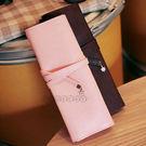 【BlueCat】花朵牌三折捲繩式皮質筆袋/化妝袋/收納包