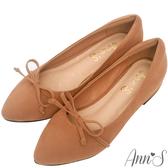 Ann'S瑪莉珍-蝴蝶結加寬楦舒適尖頭平底鞋-棕
