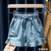 2020春夏裝新款女童兒童童裝寶寶洋氣闊腿牛仔短褲熱褲花邊裙褲子『蜜桃時尚』