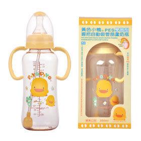 【奇買親子購物網】黃色小鴨 PiYO PiYO 握把自動吸管葫蘆奶瓶PES300ml